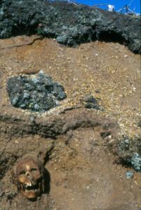 innu-eroding-skull-at-mina-hubbards-ptarmigan-point-1995